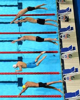 US Olympic Swim Trials: From top to bottom: Alexander Gianino, Peter Benner, Zachary Lierley, Drew Onken and Alex Tyler compete in the preliminaries of the men's 400-meter individual medley.