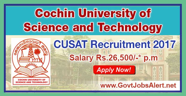 CUSAT Recruitment 2017 - Hiring Teaching Assistant Grade I Post, Salary Rs.26,500/- : Apply Now !!!  The Cochin University of Science and Technology – CUSAT Recruitment 2017 has released an official employment notification inviting interested and eligible candidates to apply for the positions of Teaching Assistant Grade I. The eligible candidates may apply online through the official website (given below). The Closing date for apply of CUSAT Recruitment 2017 is on or befo