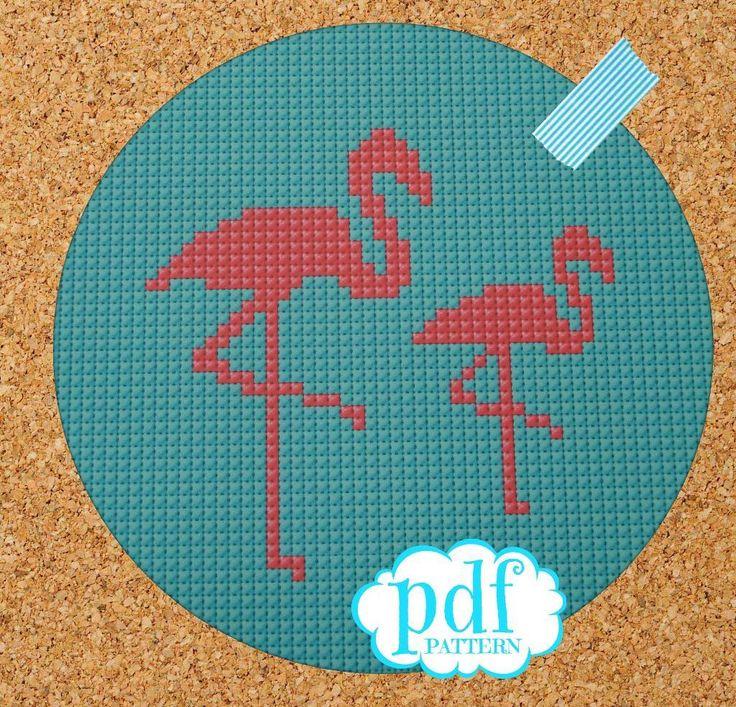 Little Pink Flamingos cross stitch pattern on Craftsy.com
