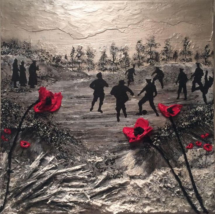 Poppy Art Painting Poppies War Art Remembrance WW1 Christmas Truce Football Match Artist Jacqueline Hurley More