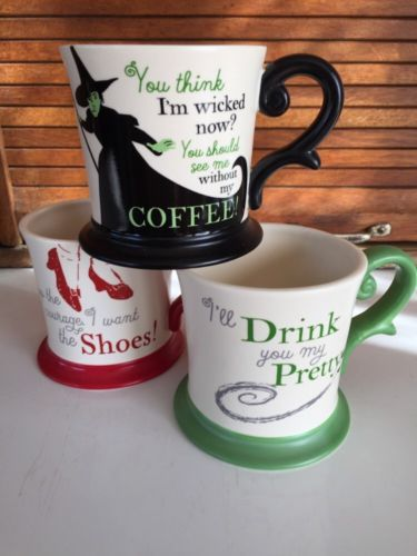 Set of three WIZARD OF OZ Coffee Mugs!! RARE Wicked Witch, Ruby Slippers, My Pretty.