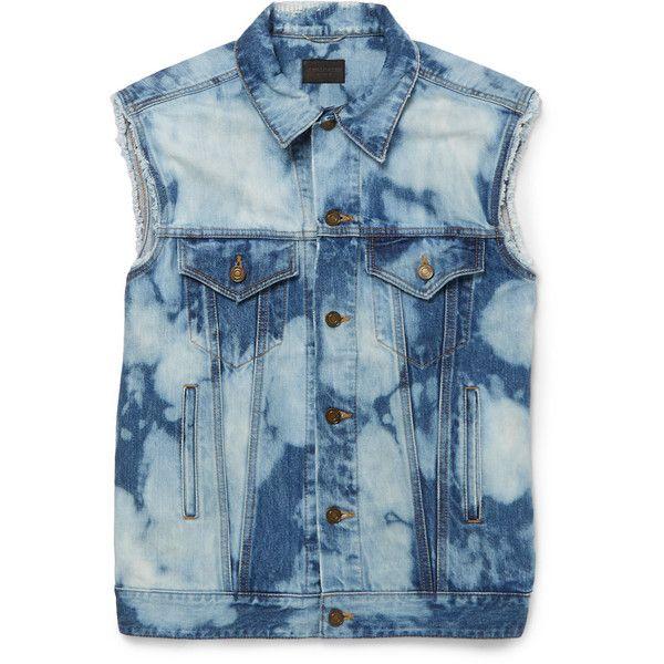 Saint Laurent Bleached Denim Gilet ($960) ❤ liked on Polyvore featuring men's fashion, men's clothing, men's outerwear, men's vests and yves saint laurent