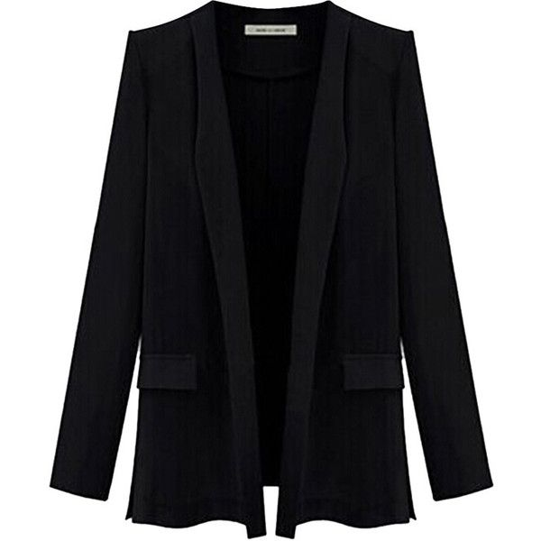 Black Ladies Candy Color Plus Size Blazer (£25) ❤ liked on Polyvore featuring outerwear, jackets, blazers, black, coats, women's plus size blazers, blazer jacket, plus size blazers, plus size blazer jacket and plus size jackets