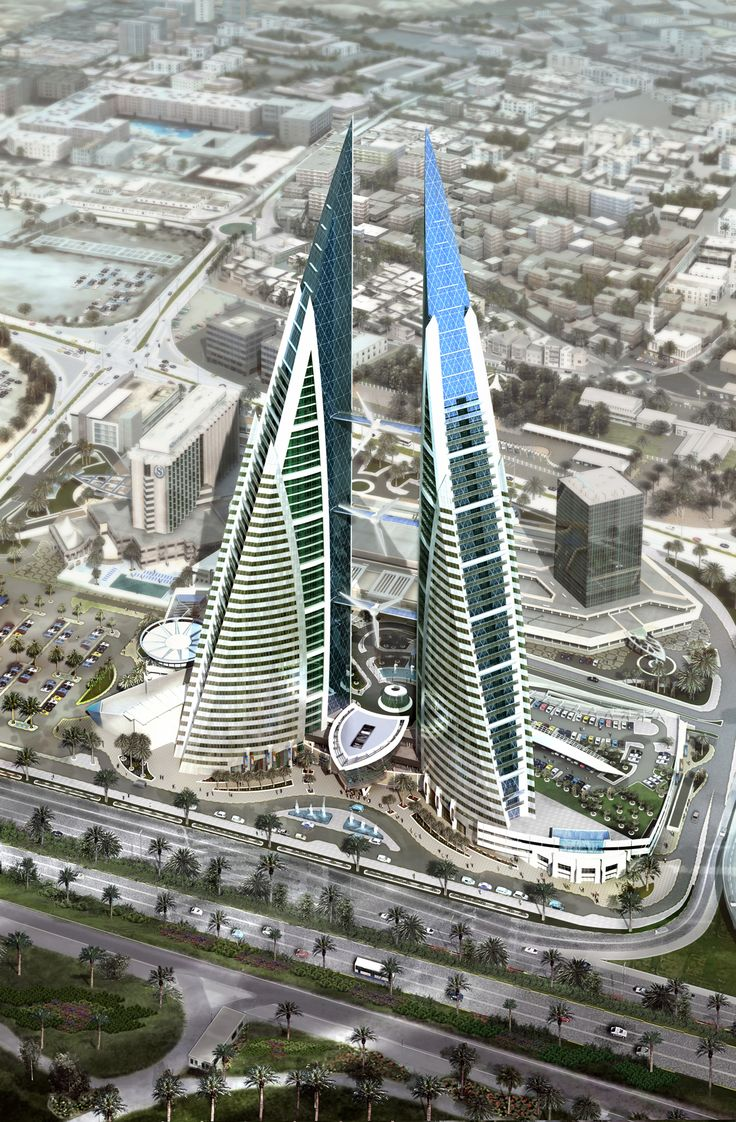 Bahrain World Trade Center. The Bahrain World Trade Center is a 787 ft. high, 50-floor, twin tower complex located in Manama, Bahrain. The towers were built in 2008 by the multi-national architectural firm Atkins. (V)