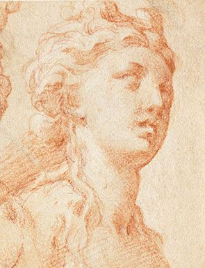 Detail of a sketch of three female nudes by Parmigianino. Estimated at £15,000-20,000. Photo: Bonhams.