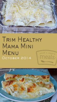 Whether you've just cracked the cover of Trim Healthy Mama or enjoy long term success, this mini menu gives you easy freezer meal options for energizing, satisfying and fuel pulling to help you reach your nutritional goals. | Trim Healthy Mama Mini October 2014 Menu | Once A Month Meals | OAMC | Freezer Cooking | Freezer Meals | Customized Shopping List | Custom Serving Menus | Pre-planned Menus | Customize your own!