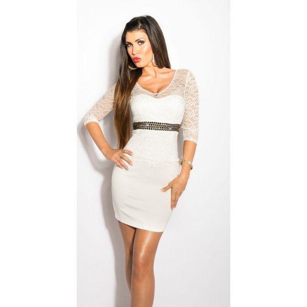 Rochie de seara cu dantelă și pietre,alb