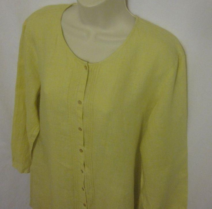 Eileen Fisher Long Tunic Shirt Top Blouse Large Irish Linen Yellow Pleated  #EileenFisher #Tunic #Casual