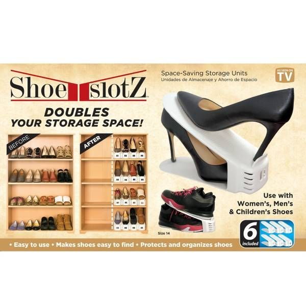 Product Image for 6-Pack Space-Saving Shoe Slotz™ Storage Units in Ivory 1 out of 3