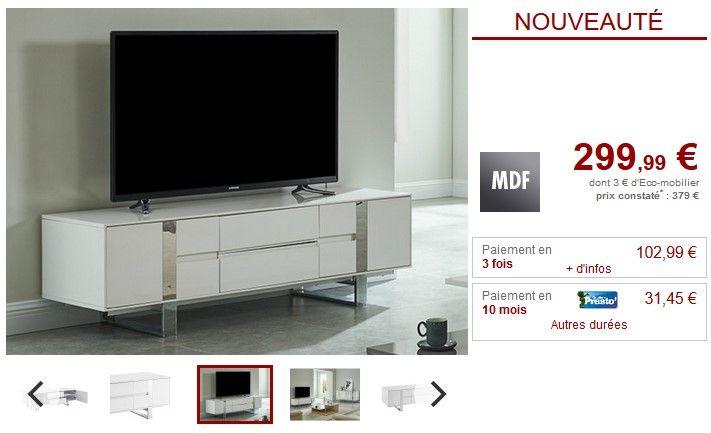 meuble tv petillante 2 portes laque