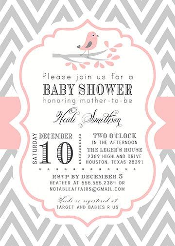 Gray and Light Pink Chevron with Little Birdie Bird and Branch Modern Girl Baby Shower Invitation. $15.00, via Etsy.