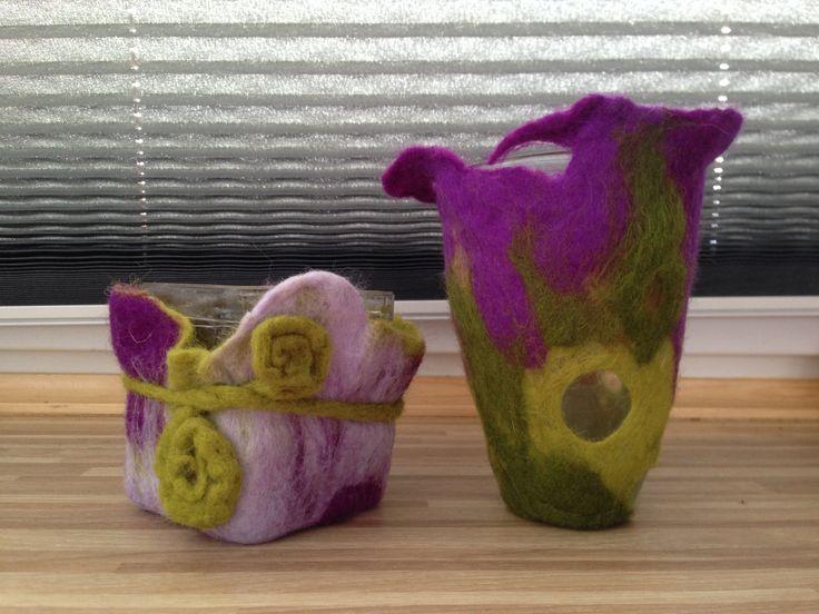 Felt vases/ Felted/ Art Home Decor Vases/ green and violet felted vases by RozalkaFeltAndWool on Etsy