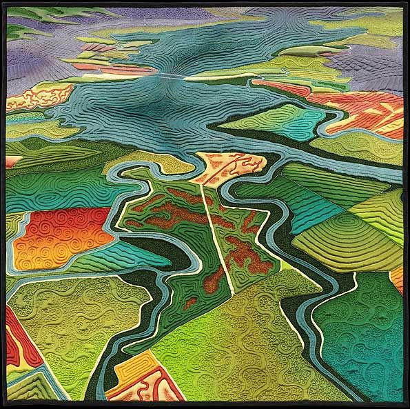 An amazing talent. Art quilt maps by award-winning textile maker and environmental activist Linda Gass. Photographs by Don Tuttle.