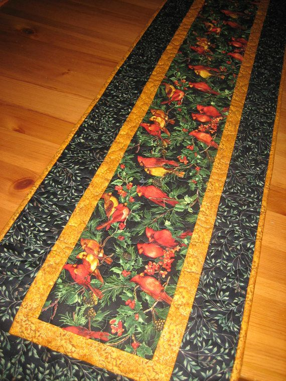 Quilted Table Runner Gold Orange Birds on Black by TahoeQuilts
