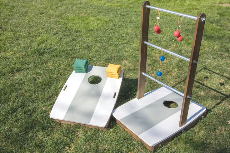 Add some fun to your outdoor living with this clever combination of two popular outdoor games. With the uprights installed, you can play ladder ball. Remove the uprights and flip down the legs, and you're ready for the fun of bean-bag toss!