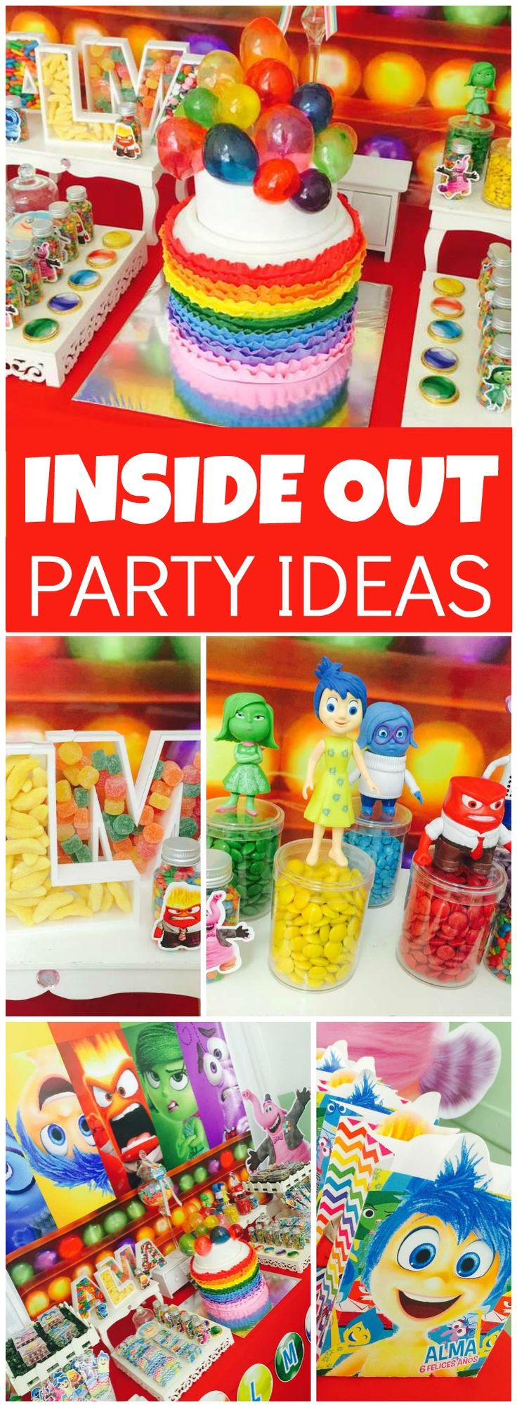 Check out this bright, colorful Inside Out party! You have to see the ruffle rainbow cake on slide 6! See more party ideas at CatchMyParty.com!