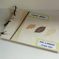 Livre d'or pour mariage sur le theme zen et nature - vert et ecru