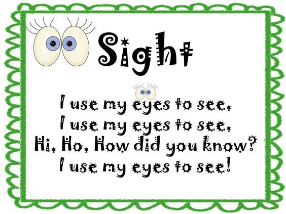 activities for sense of sight | Today I started with sight and we learned this song