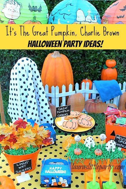 So many FUN party ideas, featuring the Peanuts gang! LAURA'S little PARTY: It's The Great Pumpkin, Charlie Brown | Halloween Party Ideas