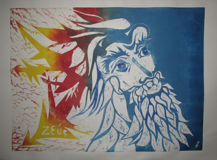 """Xilografía color serie La Gran Frontera  """"Zeus, júpiter"""" 2013"""