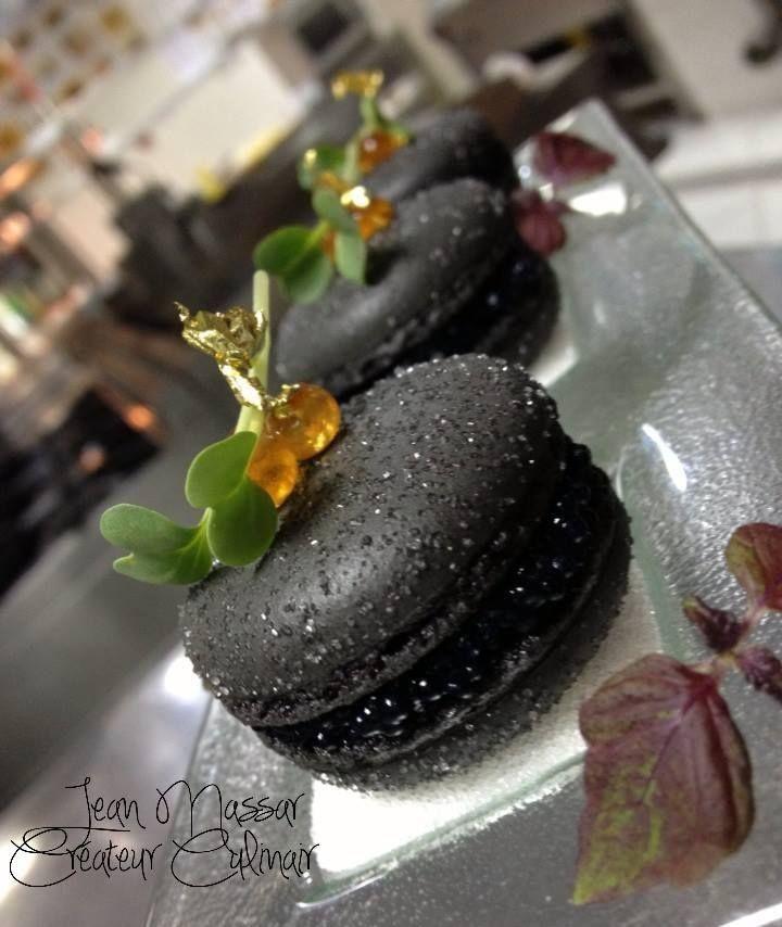 Black Pearl Macarons (Nero Di Seppia Macarons, Cream Cheese & Beluga Caviar)