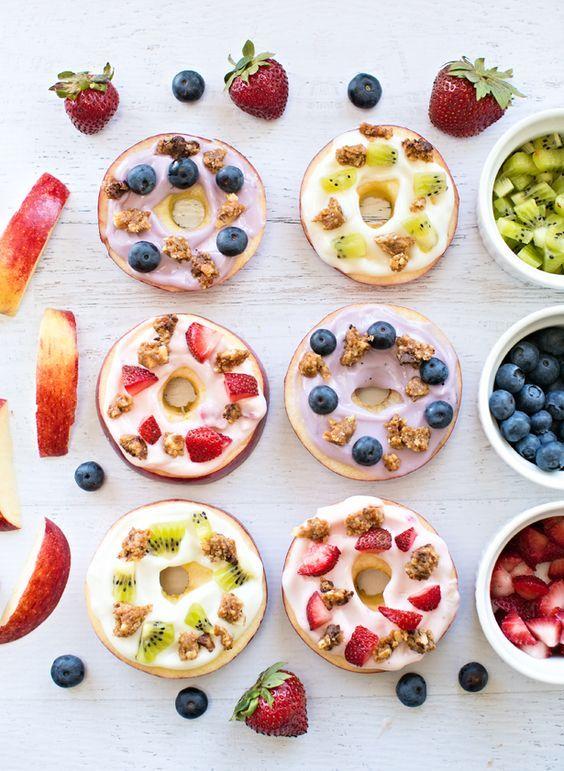 """Donuts"" for kids! Apple Fruit Yogurt Donuts with Snack Bar Crumble   via hello, wonderful"