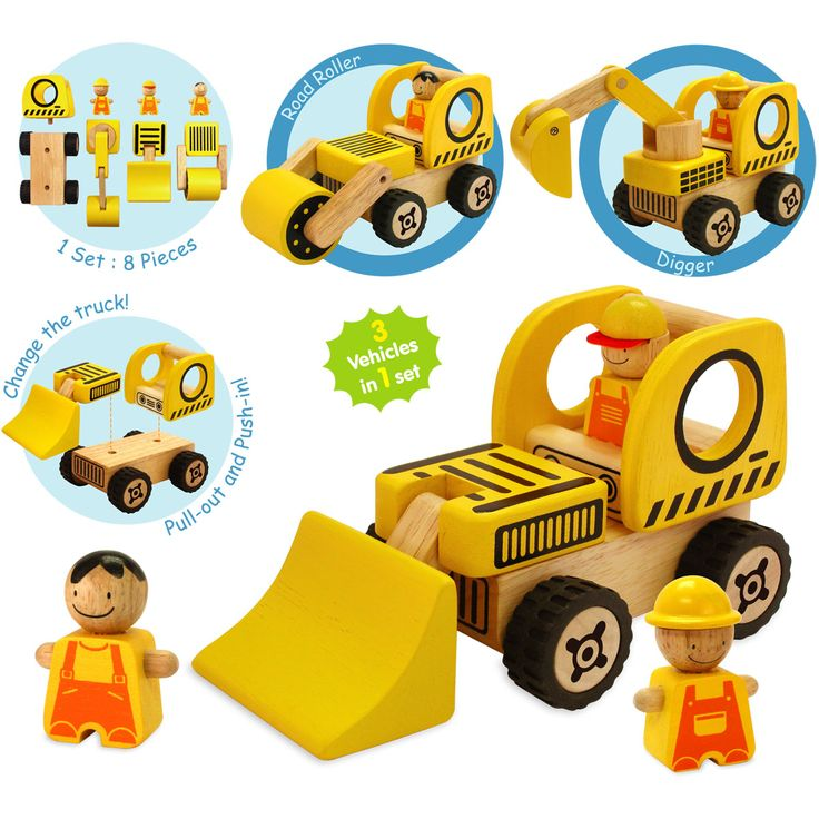 Artiwood road Vehicles Play Set - $40 Build three vehicles from the Road Vehicles Set!  The set comes with one base and three different truck attachments, allowing you to construct three vehicles from one!  Set includes; Digger, Bulldozer, Roller and three workmen The toy improves hand-eye co-ordination, physical skills and social play. Change the truck! Pull-out and Push-in 19mths +