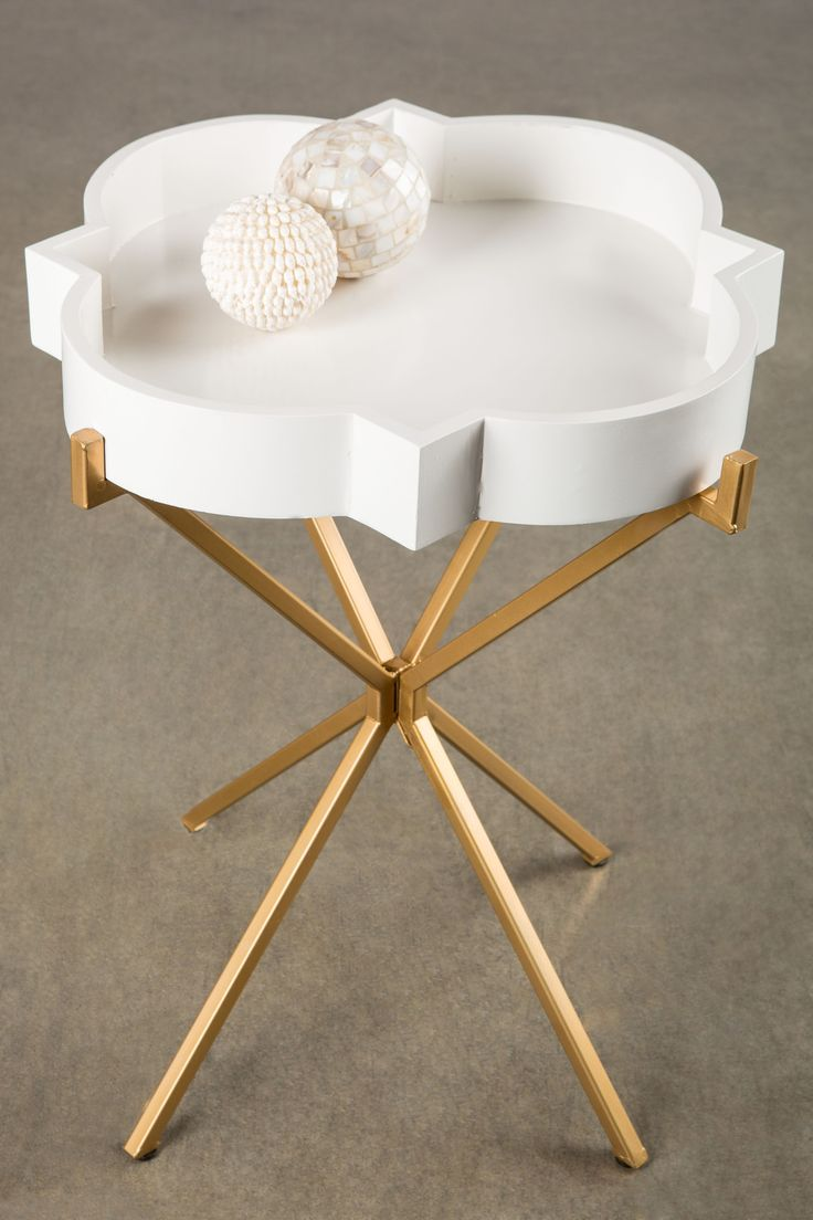 Statements by J Josylyn Side table Materials: wood and metal Removable tray