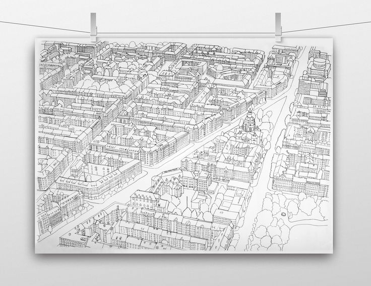 City map of Odenplan, Stockholm. Hand-drawn map for a school project at Broby Grafiska