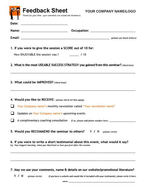 Presentation Feedback Form Click To View Larger Image Teaching