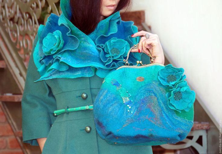 """Купить комплект """"Аквамарин"""" - бирюзовый, купить сумку валяную, купить валяную сумку, сумка валяная"""