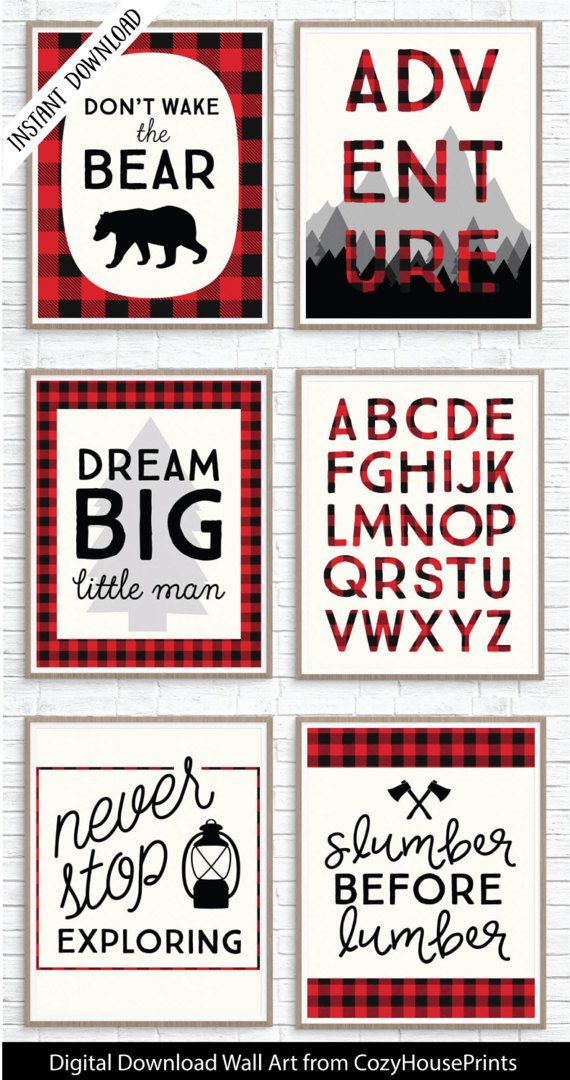 Lumberjack printable set for lumberjack nursery or lumberjack party. Fun buffalo plaid decor.  Super-easy instant download set.  Love the red plaid!