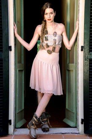 Gonna in chiffon rosa cipria, pezzo unico taglia 44 Chiffon skirt powder pink, unique size 44