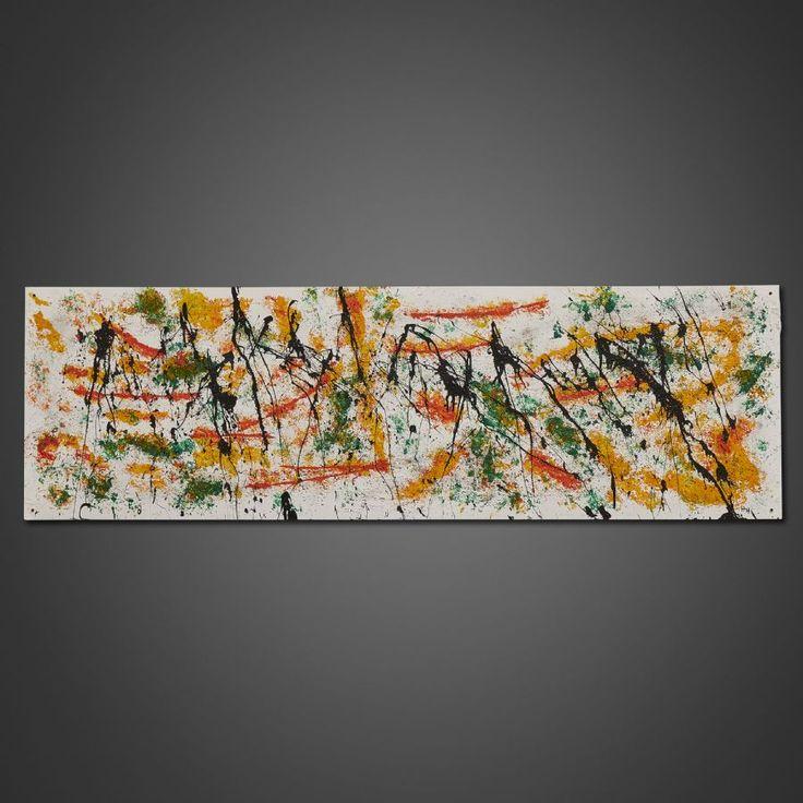 Henri Hiltunen (f. 1972), Inferno, monogramsignerad, daterad 2017 a tergo, akryl och sand på masonitskiva som är återvunnen från en bokhylla, 48x154 cm. Henri Hiltunen, bildkonstnär och videoredigerare, född 1972. Auktionen avslutas den 16 oktober 2017 och just nu är priset 1.100 kr