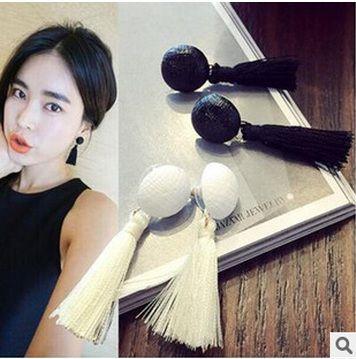 2015 New Hot  Fashion Jewelry Buttons  Tassel Drop Earrings Long Earrings For Women Pendientes Brincos