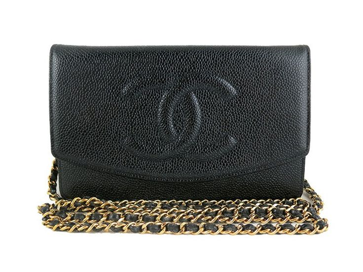 Chanel woc black caviar wallet on chain 255 classic