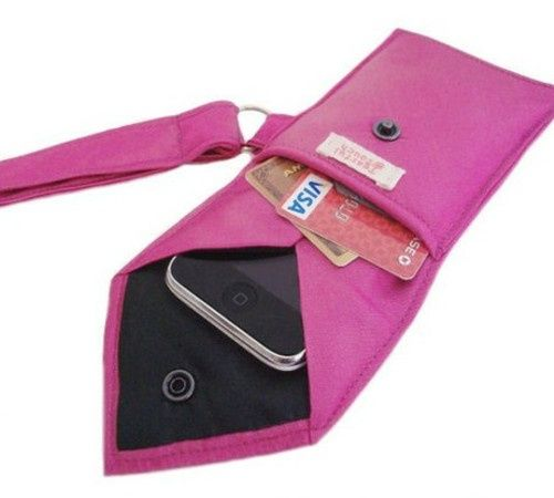 DIY Turn a Men's Necktie into a 2-Pocket Wristlet.  Thrift store ties and cute for going out or as gifts to friends
