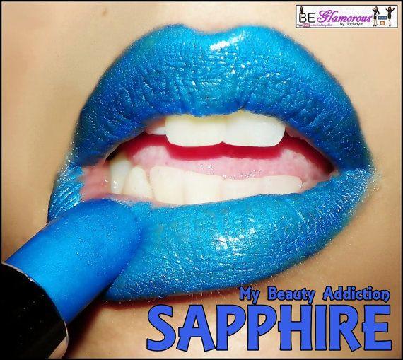 Blue Lipstick- Color Rich Lipstick-Sapphire via Etsy
