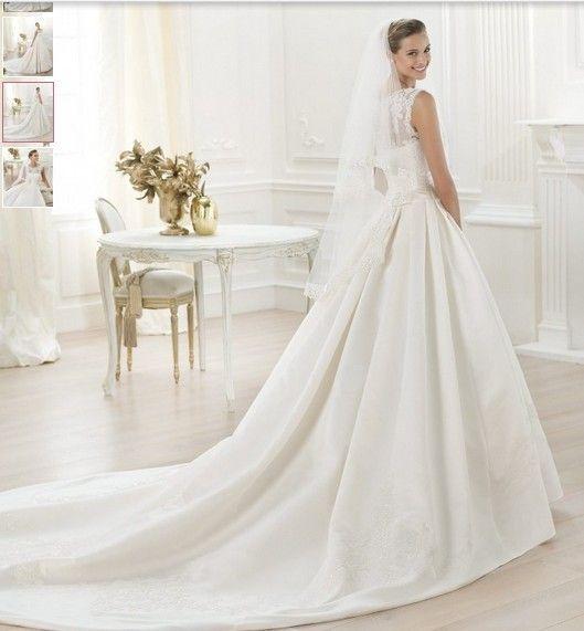 billige brudekjoler|Rund halsudskæring taft blonder A-line brudekjole_billige brudekjoler online shop