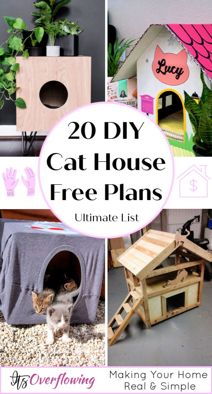 20 Free Diy Cat House Plans Cat House Diy Cat House Diy Cardboard Outdoor Cat House