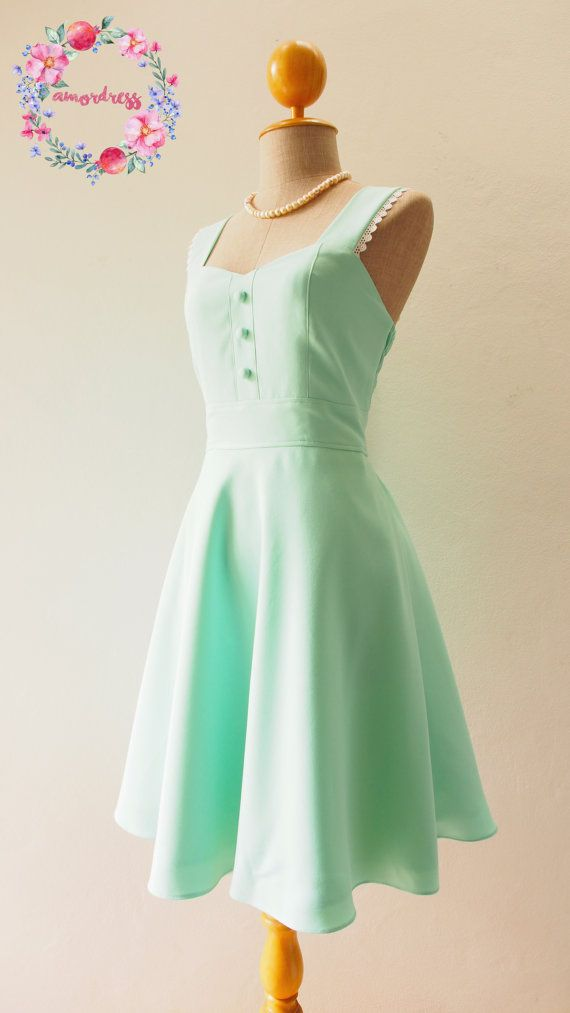 Mint Green Party Dress Vintage Inspired Mint Green by Amordress