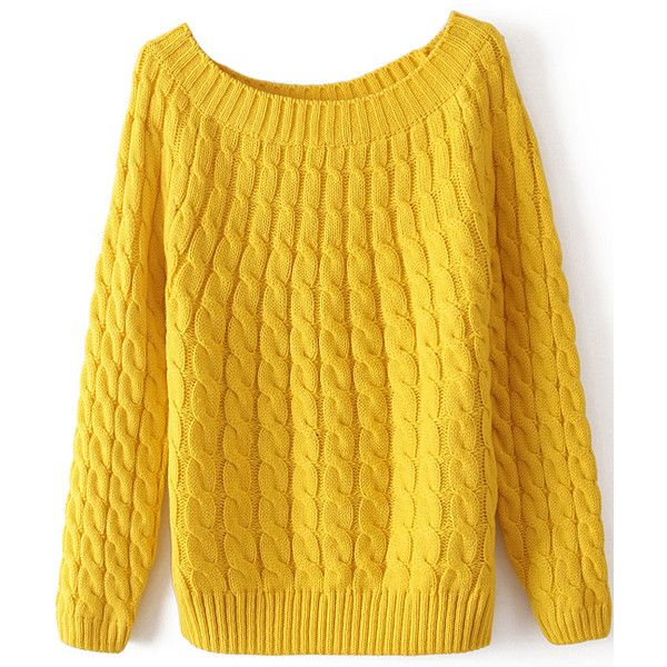 Yellow Long Sleeve Loose Cable Knit Sweater (€11) ❤ liked on Polyvore featuring tops, sweaters, yellow, long sleeve tops, long sleeves, cable-knit sweater, yellow pullover sweater, acrylic sweater and loose sweater