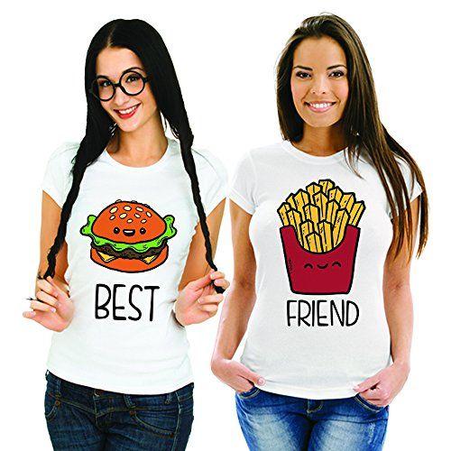 Coppia Di T Shirt Magliette You And Me Best Friend Fast Food Bianche Donna.