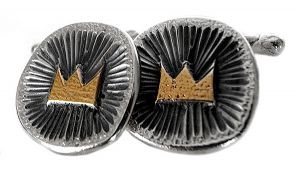 Crown cufflinks in sterling silver and gold plate - $270