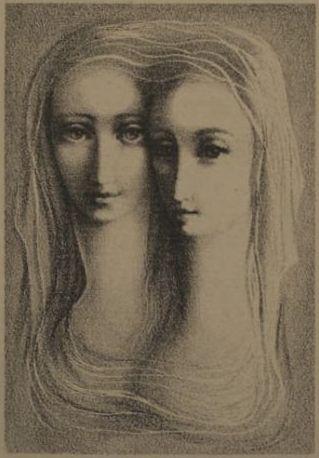 "Ludmila Jiřincová (1912-1994), ""Two Girls"", lithography."