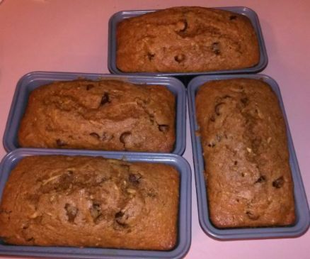 Same recipe, but made with unsweetened applesauce instead of oil.  Makes the fat go way down!  I'm experiementing with the sugars to see what we like best and the oil/applesauce ratio to see if it matters to us. via @SparkPeople