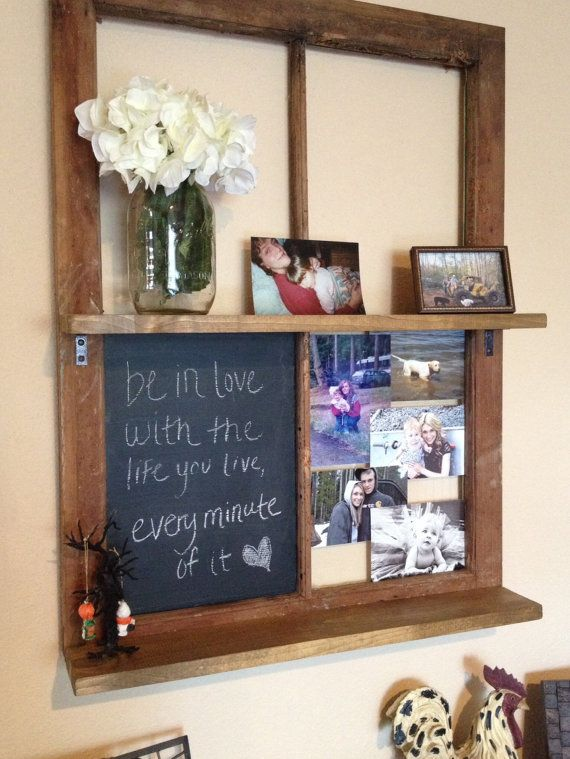 Reclaimed window shelf chalkboard by TKLdecor on Etsy. DIY this but add twine on the top 2 frames to clothespin photos onto it. (Or chicken wire)