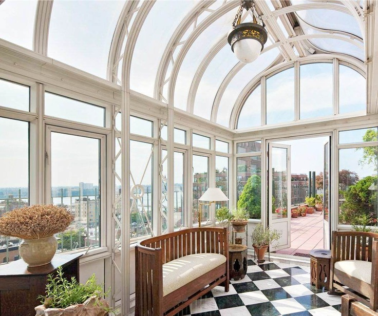 .Village Penthouses, West Village, Sunrooms, Black And White, Dreams House, New York City, Green House, Glasses House, Sun Room