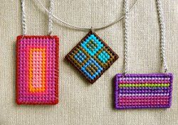 Plastic Canvas Needlepoint Pendants - combining needlepoint and chain