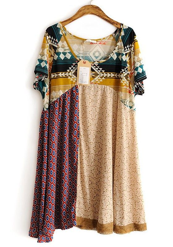 Beige Patchwork Geometric Irregular Cotton Dress